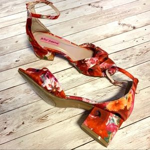 Betsey Johnson Ivee Floral Knotted Heeled Sandals